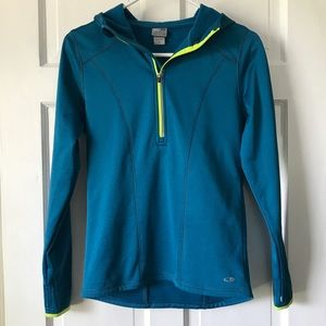 Champion Blue and Green Fleece Hoodie Pullover